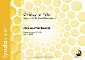 Java Essential Training - Certificate Of Completion