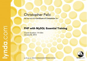PHP with MySQL Essential Training -Certificate Of Completion