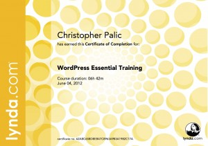 WordPress Essential Training - Certificate Of Completion
