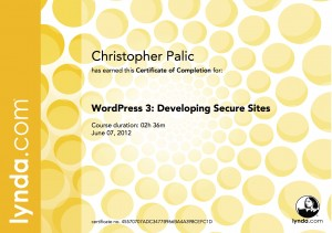 WordPress3 Developing Secure Sites - Certificate Of Completion